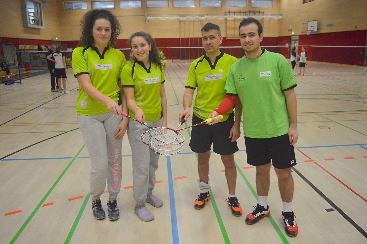 Da esq. para a dta. Sofia Almeida, Diana Campos, Paulo Ribeiro e Diogo Lima, alguns dos atletas lusos do Badminton Clube de Differdange