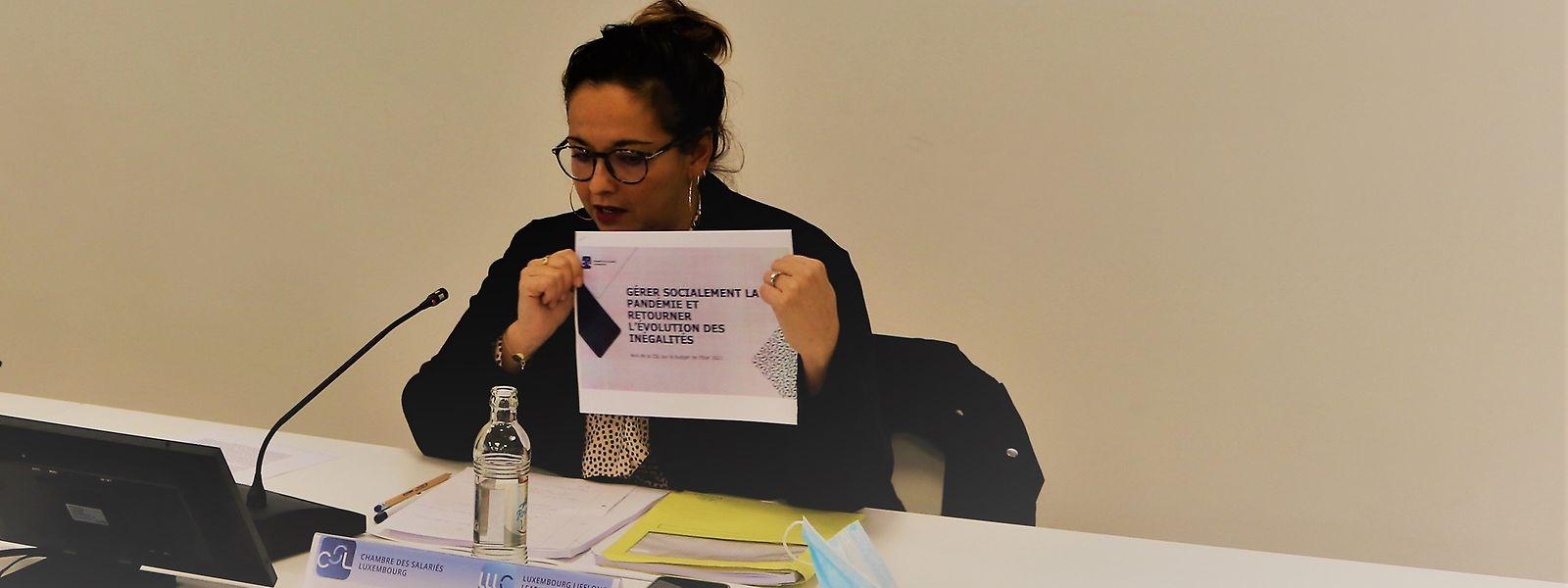 Die Vorsitzende der Chambre de Salariés, Nora Back, bei der Vorstellung des CSL-Gutachtens zum Haushaltsentwurf 2021.