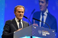 New European People's Party President Donald Tusk gestures as he delivers a aspeech during the European People's Party (EPP) congress in Zagreb, on November 20, 2019. - Europe's main conservative parties are set to choose former EU Council President Donald Tusk as the leader of their pan-Europe grouping at a two-day meeting in Croatia. The former Polish prime minister will be tasked with boosting the fortunes of the European People's Party (EPP) -- which includes Germany's CDU and France's Republicans. (Photo by Denis LOVROVIC / AFP)