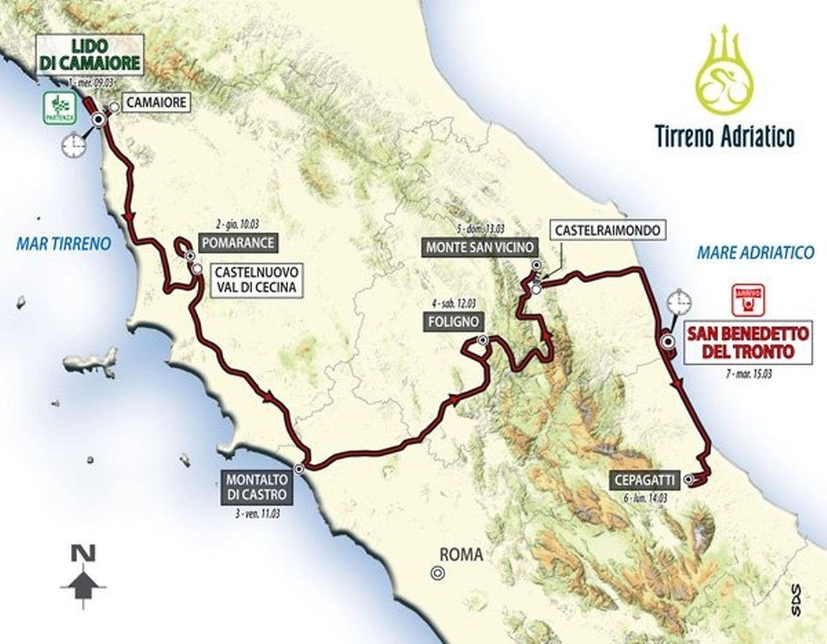 Le tracé général de Tirreno: 1.023,8 km dont 32,8 km de contre-la-montre