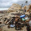 Müll, vermischt mit sanitären Abfällen, liegt am Strand in der Bucht von Palma.