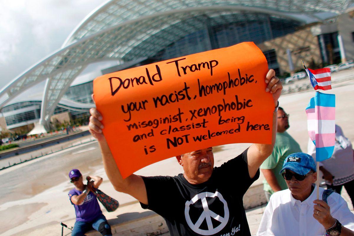 Nicht willkommen: In Puerto Rico zeigte sich noch immer vereinzelter Protest.