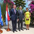 Grão-Duque Henri com o Presidente Jorge Carlos Fonseca, e a mulher Lígia Fonseca, em Cabo Verde, em 2015.