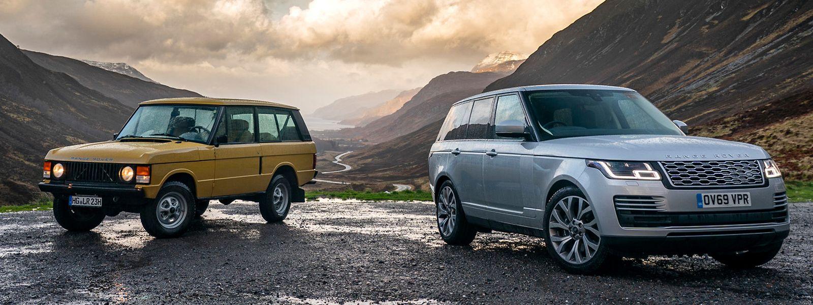 Ein Klassiker mit einem seiner Nachfolger: Auf den Range Rover Serie 1 (links) folgten bisher drei weitere Generationen.