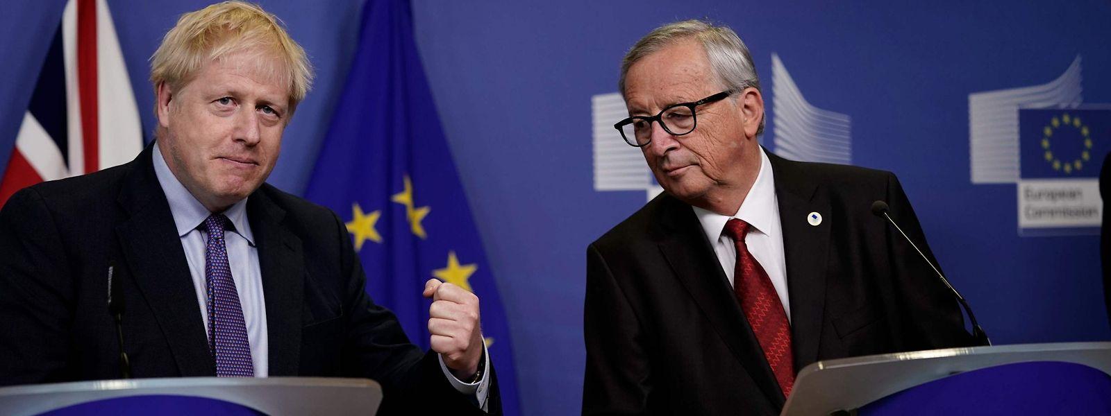 Jean-Claude Juncker und Boris Johnson am Donnerstag bei einer gemeinsamen Pressekonferenz.