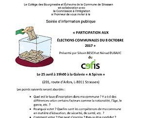 """Soirée d'information publique """"Participation aux élections communales"""""""