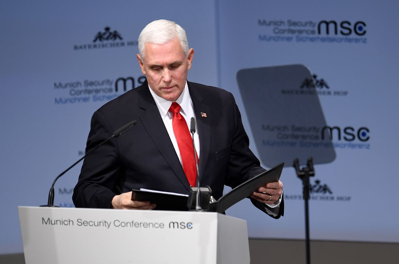 Mike Pence, US-Vizepräsident, spricht am zweiten Tag der 55. Münchner Sicherheitskonferenz.
