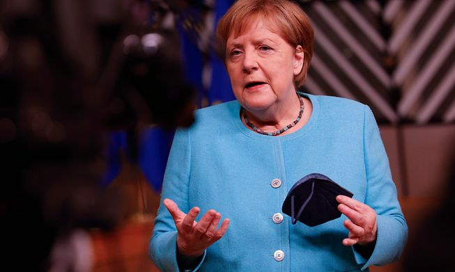 German Chancellor Angela Merkel at an EU summit at the European Council building in Brussels in June