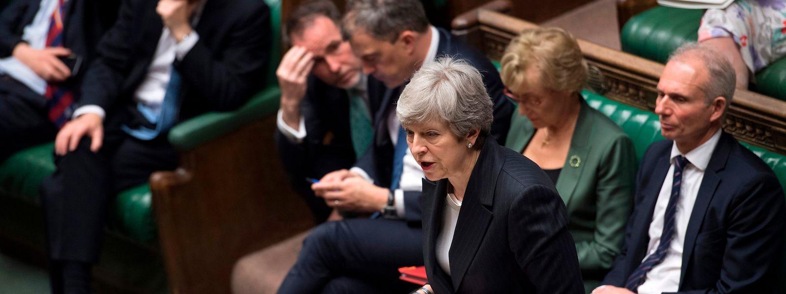 Theresa May am Mittwoch bei ihrer Rede vor dem Parlament.