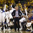 OAKLAND, CA - JUNE 04: Steve Kerr of the Golden State Warriors looks on against the Cleveland Cavaliers during the second half of Game 2 of the 2017 NBA Finals at ORACLE Arena on June 4, 2017 in Oakland, California. NOTE TO USER: User expressly acknowledges and agrees that, by downloading and or using this photograph, User is consenting to the terms and conditions of the Getty Images License Agreement.   Ezra Shaw/Getty Images/AFP