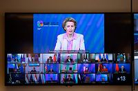 European Commission President Ursula von der Leyen (top), speaks via videoconference to top leaders during an EU-Eastern Partnership Leaders' summit at the Europa building in Brussels, on June 18, 2020. (Photo by Francisco Seco / POOL / AFP)