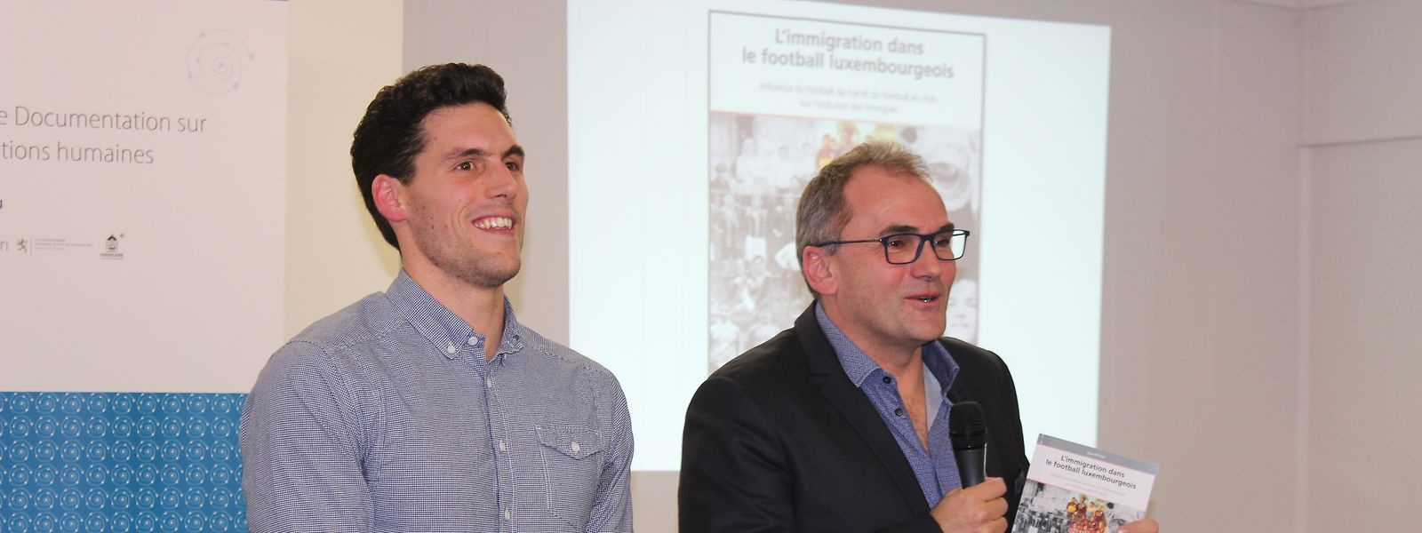 L'auteur du livre, Jean Ketter et son superviseur de mémoire, Denis Scuto.