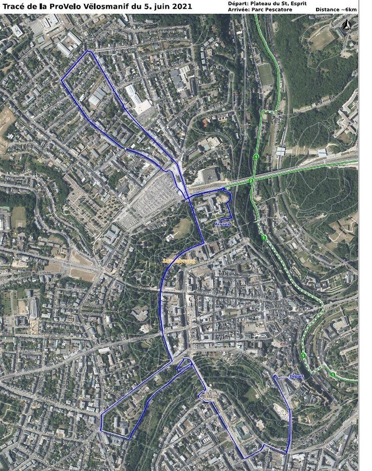 Die Route der ProVelo-Demonstration am Samstag
