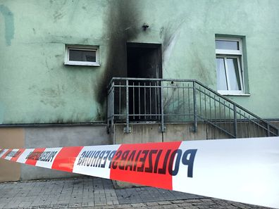 Picture shows a mosque in Dresden, Germany on Tuesday, one day after an improvised bomb destroyed the entrance
