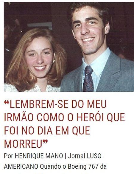Fotografia de João Aguiar com a irmã, na reportagem de Henrique Mano no Luso-Americano na edição especial de 20 anos do 11 de setembro.
