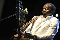 (FILES) In this file photo taken on August 15, 2008 Guinean-born musician Mory Kante plays the Kora while oerforming with the 'Yeke Yeke Anniversary Tour' band on the the 'world stage' on the Hajogyar (Shipyard) Island of Budapest on the third day of the one-week Sziget festival in the Hungarian capital. - Guinean singer Mory Kante, who helped introduce African music to a world audience in the 1980s, died on May 22, 2020 in the capital Conakry after a long illness, his son Balla Kante told AFP. (Photo by Attila KISBENEDEK / AFP)