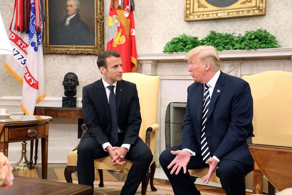 Emmanuel Macron e Donald Trump, na Casa Branca.