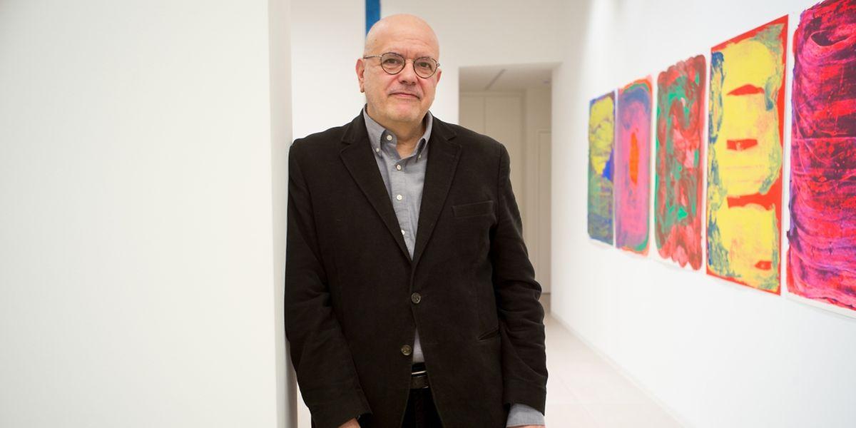 Pedro Calapez na inauguração de uma mostra de obras inéditas, no Centro Cultural Português no Luxemburgo.