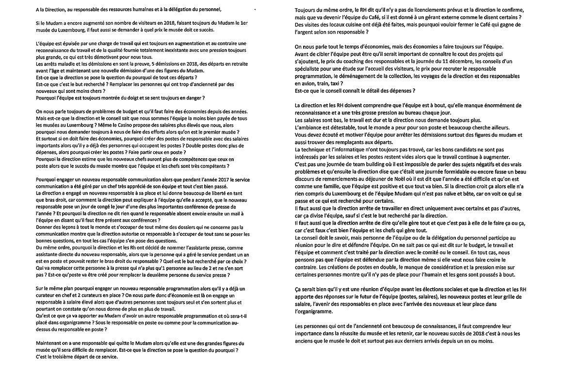 Carta anónima de duas páginas enviada à direção do Mudam