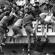 ARCHIV - 15.04.1989, Großbritannien, Sheffield: Das Foto zeigt die Entwicklung zur Katastrophe vor dem englischen FA-Cup-Halbfinalspiel zwischen dem FC Liverpool und Nottingham Forest im Hillsborough-Stadion von Sheffield. Von den überfüllten unteren Traversen versuchen Zuschauer verzweifelt, sich auf den Rang hochzuziehen. Am 15. April 1989 ereignete sich die Hillsborough-Katastrophe, durch die schließlich 96 Menschen sterben. Foto: -/dpa/epa/dpa +++ dpa-Bildfunk +++