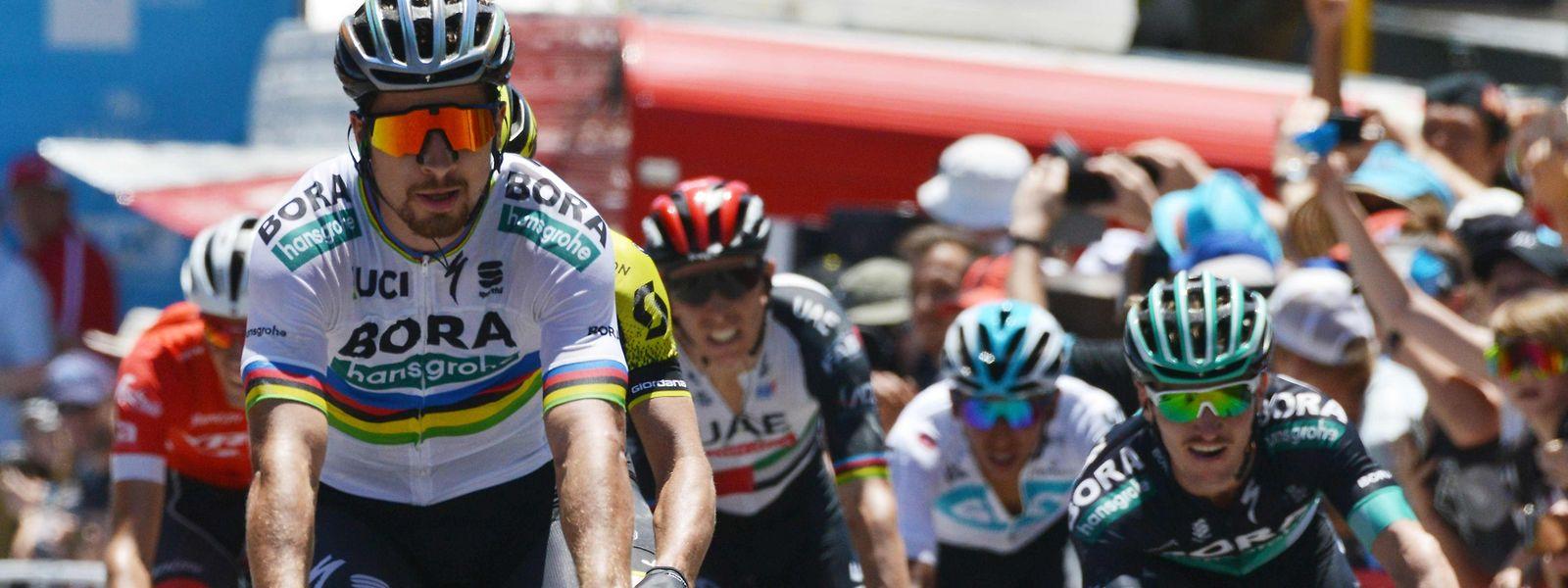 Peter Sagan war am Freitag nicht zu schlagen. Links im Bild: der Luxemburger Laurent Didier (rotes Trikot).