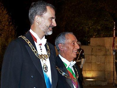 """""""Nos atos de hoje e dos próximos dias concretiza-se a relação especial e intensa entre dois países e duas sociedades que se respeitam, se gostam e que olham juntos o futuro com esperança"""", afirmou Filipe VI."""