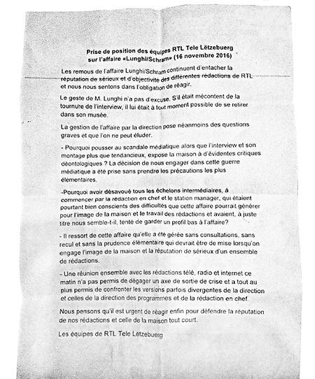 Die Stellungnahme der Mitarbeiter von RTL Tele Lëtzebuerg zur Berichterstattung über die Lunghi-Affäre.