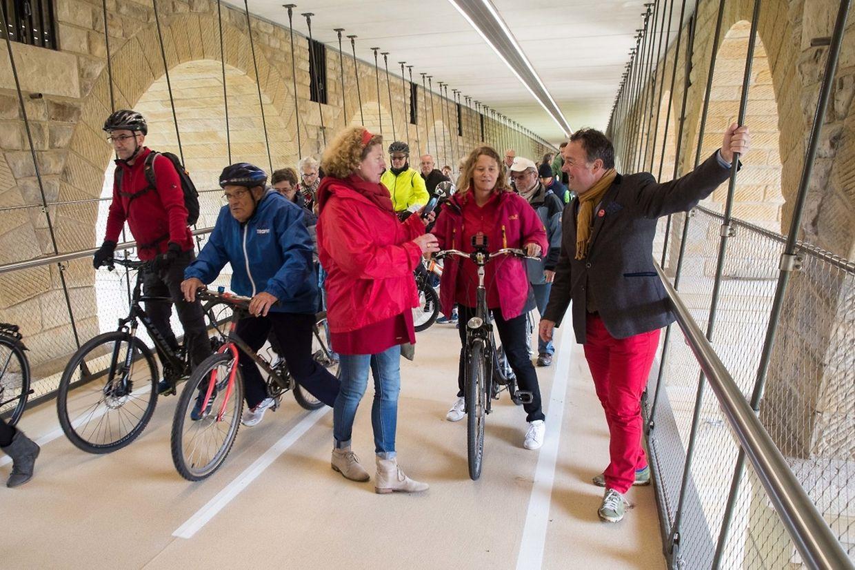 Inauguration de la passerelle pour vélos sous le Pont Adolphe.