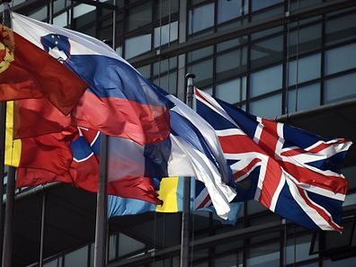 The British Union Jack flag (R) flies amongst European Union member countries' national flags