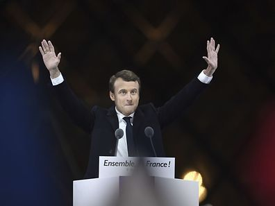 French president-elect Emmanuel Macron delivers his speech