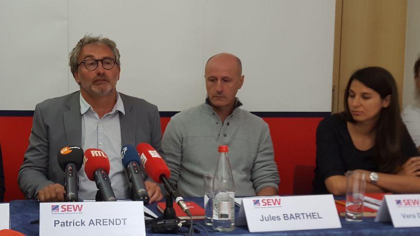 Aufgebrachte Lehrervertreter: Patrick Arendt und Jules Barthel vom SEW/OGBL.