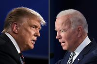 """(COMBO) This combination of file pictures created on September 29, 2020 shows US President Donald Trump (L) and Democratic Presidential candidate former Vice President Joe Biden squaring off during the first presidential debate at the Case Western Reserve University and Cleveland Clinic in Cleveland, Ohio. - Trump, who is still being treated for Covid-19, said on October 8, 2020, he will refuse to take part in the presidential debate on October 15 after it was switched to a virtual format. """"I'm not going to do a virtual debate,"""" he told Fox Business News, saying this was """"not acceptable to us."""" (Photos by JIM WATSON and SAUL LOEB / AFP)"""