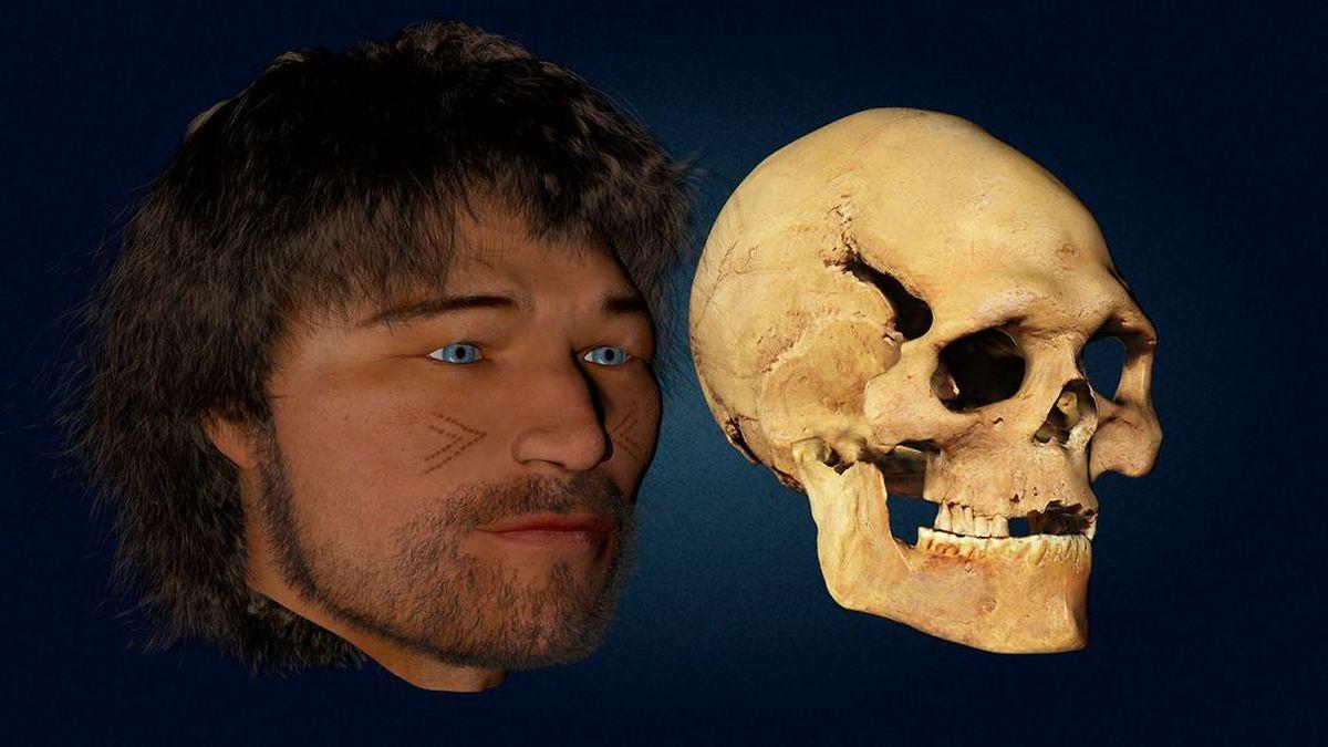 Une reconstitution du visage de l'homme de Loschbour âgé d'une trentaine d'années.