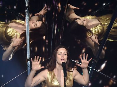 """British singer representing  United Kingdom with the song """"Never give up on you"""" Lucie Jones performs during the Grand Final rehearsal of the Eurovision Song Contest 2017 at the International Exhibition Centre in Kiev on May 12, 2017"""