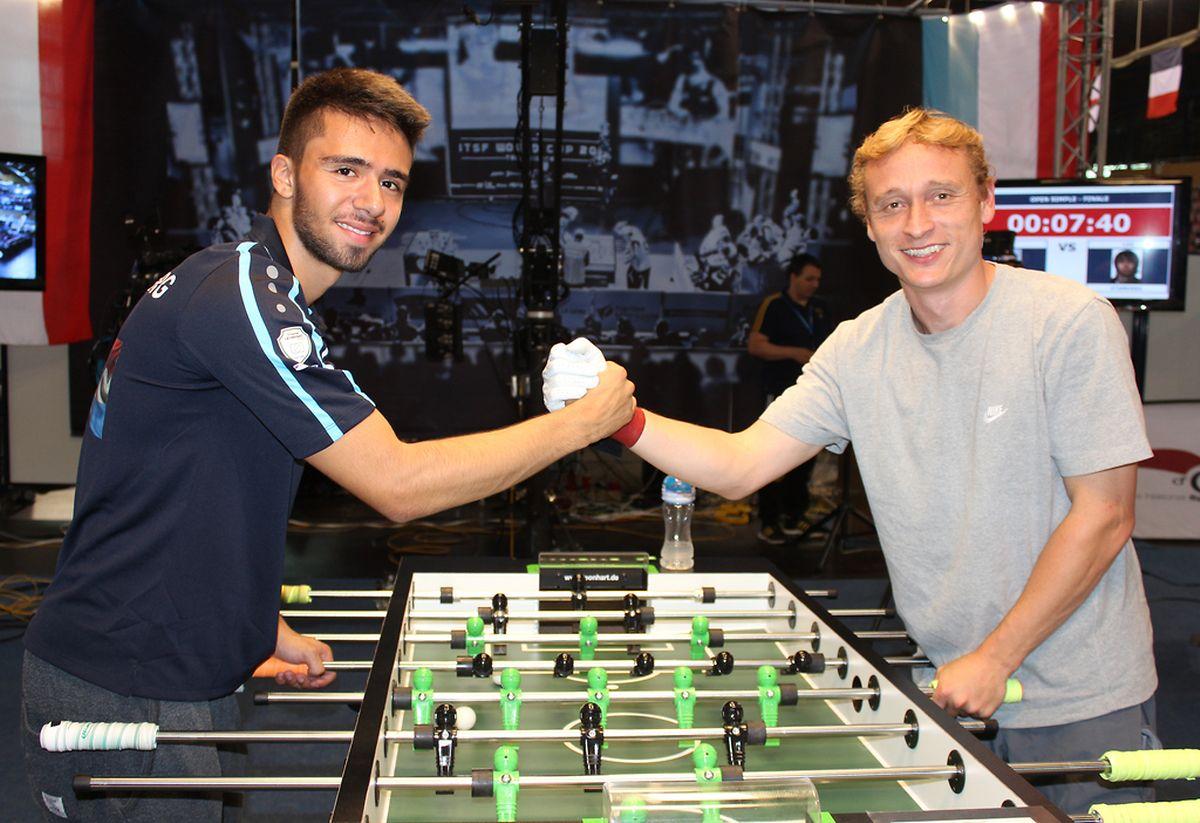 Leonardo Stamerra (esquerda) e Frédéric Collignon, campeão mundial em individuais