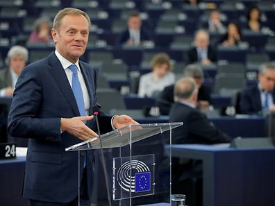 European Council President Donald Tusk delivers a speech during a debate on the future of the E.U.