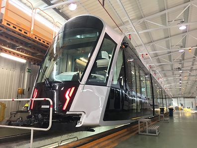 The first tram car is completed in Saragossa and will be delivered to Luxembourg in February.