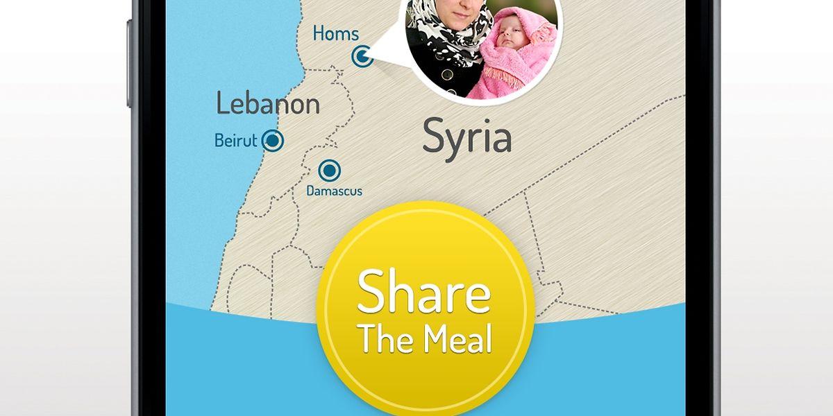 Wann immer ein Smartphone-Nutzer frühstückt, zu Mittag oder zu Abend isst, hat er die Möglichkeit, mit seiner Mahlzeit eine Tagesration Essen für 40 Euro-Cent mit einem Menschen in Not zu teilen.