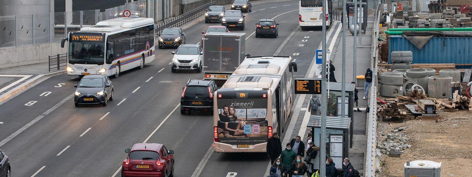 Die Haltestellen für die RGTR-Busse an der Rocade de Bonnevoie ersetzen jene an der Place de la Gare.