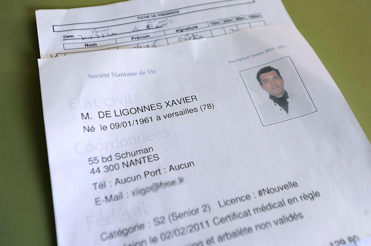 A ficha de registo de Xavier Dupont de Ligonnès no clube de tiro em Nantes.