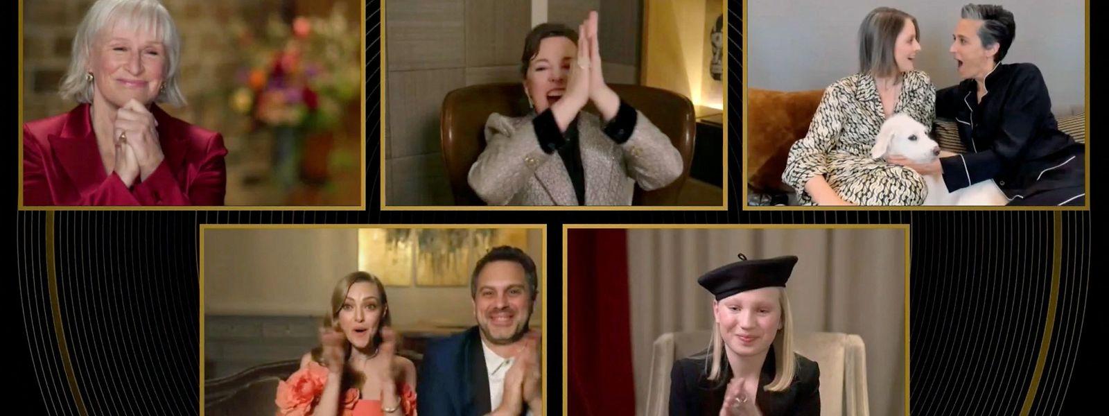 """Bei der Bekanntgabe der Gewinnerin für die beste weibliche Nebenrolle. Den Golden Globe bekam Jodie Foster (oben rechts) für ihre Nebenrolle in dem Polit-Thriller """"The Mauritanian""""."""