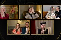 """This handout screen grab courtesy of NBCUniversal shows nominees for Best Actress in a Supporting Role in Any Motion Picture Glenn Close, Olivia Colman, Amanda Seyfried, and Helena Zengel react as Jodie Foster (top R) wins for �The Mauritanian� at the 78th Annual Golden Globe Awards on February 28, 2021. - Usually a star-packed, laid-back party that draws Tinseltown's biggest names to a Beverly Hills hotel ballroom, this pandemic edition will be broadcast from two scaled-down venues, with frontline and essential workers among the few in attendance. (Photo by - / NBCUniversal / AFP) / RESTRICTED TO EDITORIAL USE - MANDATORY CREDIT """"AFP PHOTO /NBCUniversal"""" - NO MARKETING NO ADVERTISING CAMPAIGNS - DISTRIBUTED AS A SERVICE TO CLIENTS --- NO ARCHIVE --- / **FOR EDITORIAL USE ONLY AND CANNOT BE ALTERED, ARCHIVED OR RESOLD. SPECIFIC CLEARANCE REQUIRED FOR COMMERCIAL OR PROMOTIONAL USE. CONTACT YOUR NBCU REPRESENTATIVE FOR FURTHER INFORMATION**"""