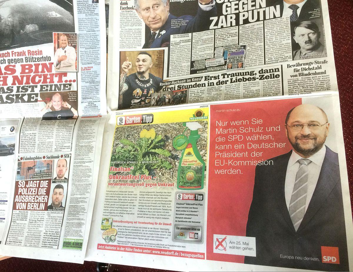 """Die SPD-Anzeige auf Seite 7 der """"Bild""""-Zeitung vom Freitag."""