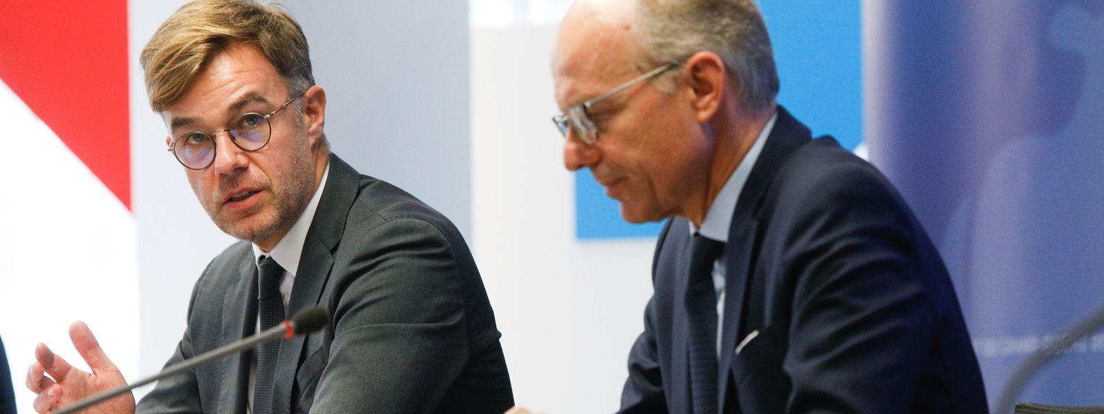 Wirtschaftsminister Franz Fayot und Handelskammerpräsident Luc Frieden: Die Exporte Luxemburger Unternehmen sind drastisch zurückgegangen.