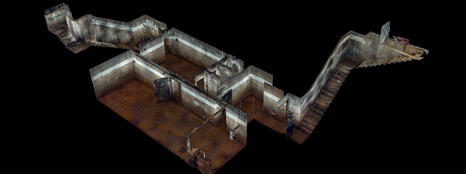 Der Bunker verfügt über einen kleinen Vorraum, einen Haupt- sowie einen kleineren Raum mit Toilettenanlage.