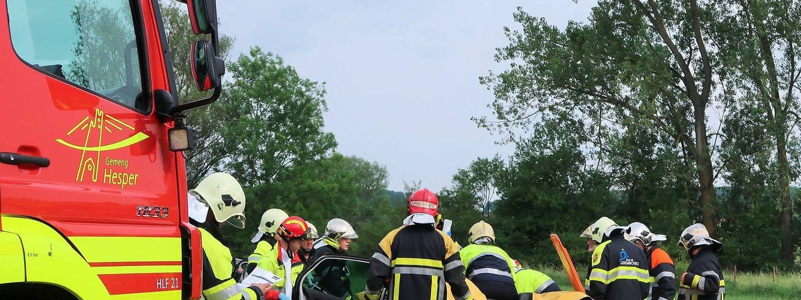 Die Rettungskräfte mussten den Beifahrer aus dem Auto befreien.