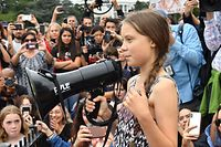 """Swedish environment activist Greta Thunberg speaks at a climate protest outside the White House in Washington, DC on September 13, 2019. - Thunberg, 16, has spurred teenagers and students around the world to strike from school every Friday under the rallying cry """"Fridays for future"""" to call on adults to act now to save the planet. (Photo by Nicholas Kamm / AFP)"""