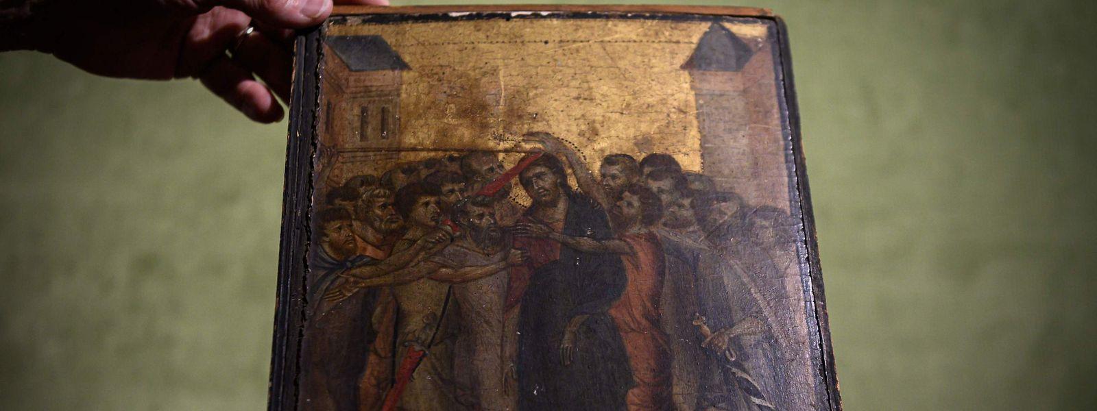 """""""Christus wird verspottet"""" von Cimabue aus dem Jahr 1280. Jahrzehntelang hatte eine französische Seniorin das Meisterwerk über dem Herd hängen."""