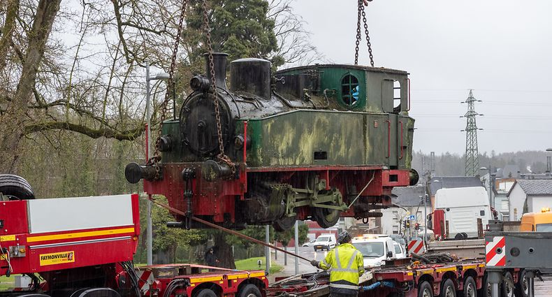 Déplacement de matériel ferroviaire historique pour restauration - Esch/Alzette -  - 11/04/2021 - photo: claude piscitelli