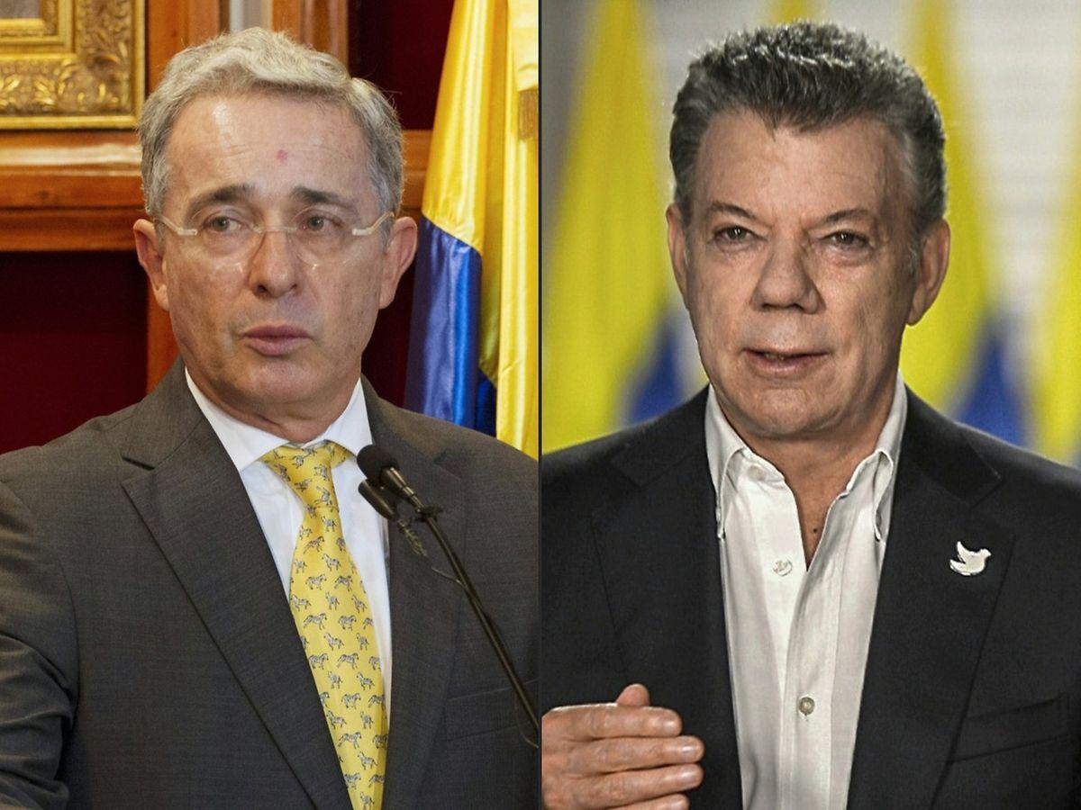 """Der frühere Präsident Kolumbiens und Friedensnobelpreisträger Manuel Uribe (r.) gilt als der Architekt des Friedens mit der FARC. Der jetzige Präsident Santos betont: """"Jetzt können wir Zonen des Landes entwickeln, die wir nie entwickeln konnten."""""""